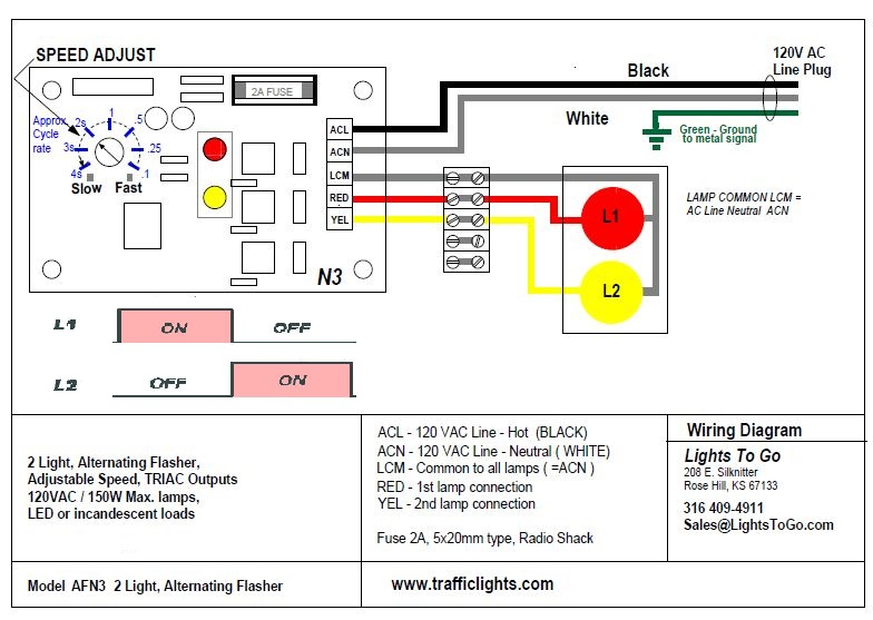Ac Alternating Flasher With Adjustable Speed